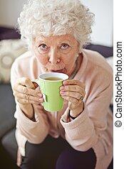 tea, ivás, hölgy, érett, otthon