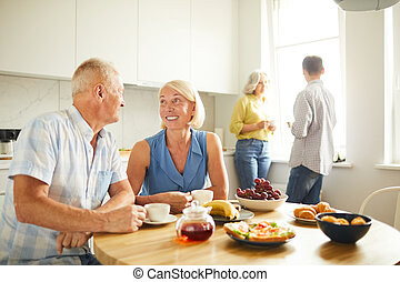 tea, ivás, konyha, érett, emberek