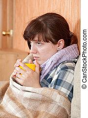 tea, ivás, nő, betegség