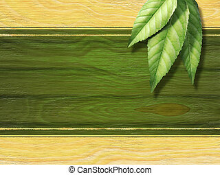 Tea label - Some fresh tea leaves over a wooden background....