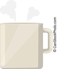 tea, lakás, vektor, ikon, csésze