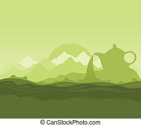 Tea landscape - Landscape on a theme green tea. A vector...