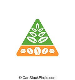 tea leaf coffee bean triangle design logo vector