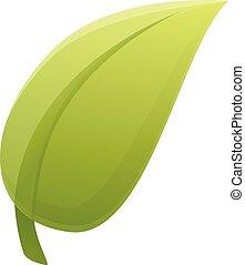 Tea leaf icon, cartoon style - Tea leaf icon. Cartoon of tea...
