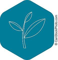 Tea leaf icon, outline style - Tea leaf icon. Outline ...