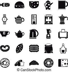 Tea leaf icons set, simple style