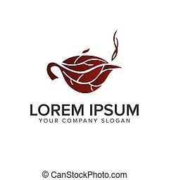 tea leaf logo design concept template