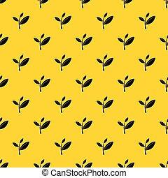 Tea leaf sprout pattern vector - Tea leaf sprout pattern ...