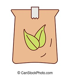 tea leafs in bag fill style icon