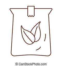 tea leafs in bag line style icon