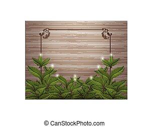 Tea Leafs on wood with frame vector