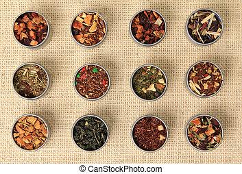 Tea leaves, different varieties.