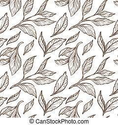 Tea leaves sketch seamless pattern, plant or organic product