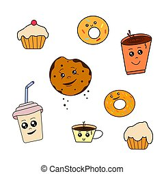 tea., lieb, karikatur, pl�tzchen, kawaii, donuts, sammlung, backen, muffins, lebensmittel, reizend, bohnenkaffee, satz, stickers., icons., vektor, füllen, getränk