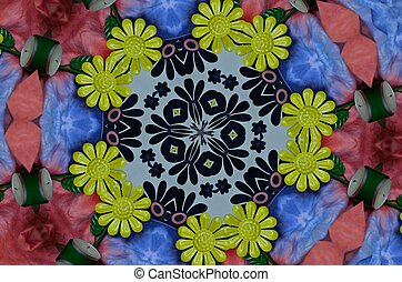 Tea lights in a flower design - A kaleidoscope pattern of ...