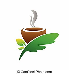 tea logo with cups and leaves