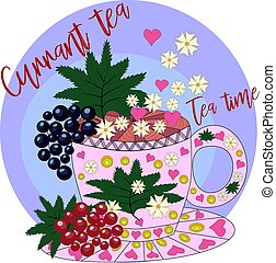 Tea made from red and black currants. Tea cooked with love. Hand drawn design element