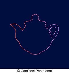 Tea maker Kitchen sign. Vector. Line icon with gradient from red to violet colors on dark blue background.