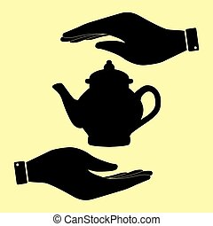 Save or protect symbol by hands. - Tea maker sign. Save or...