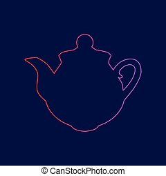 Tea maker sign. Vector. Line icon with gradient from red to violet colors on dark blue background.