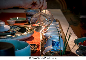 Tea making - Traditional chinese tea making in dark with...