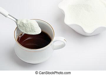tea, megfej, tejcsarnok, por, csésze