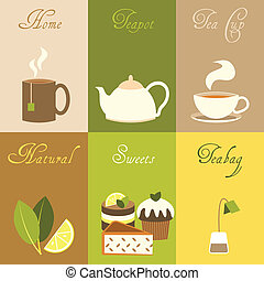 Tea mini posters set