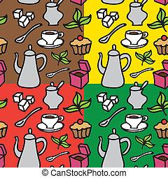 tea, motívum, seamless