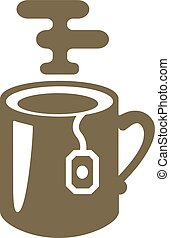 tea mug with tea bag logo icon vector illustration
