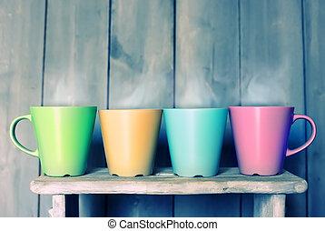 Tea mugs - Retro photo of four cute tea mugs