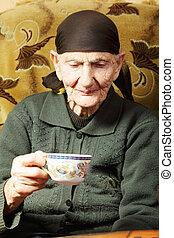 tea, nő, öregedő, csésze
