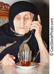 tea, nő, öregedő, telefon