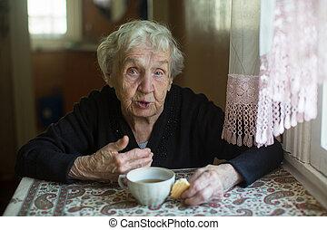 tea, nő, süti, ivás, home., öregedő