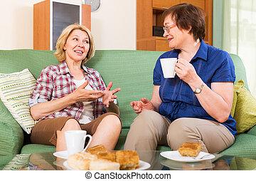 tea, nők, asztal, öregedő
