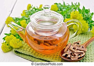 Tea of Rhodiola rosea in glass teapot with spoon on board - ...