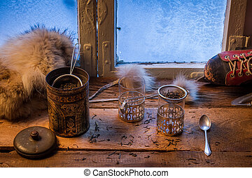 Tea on a cold day in winter