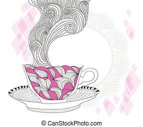 Tea or caffe cup background - coffee and tea mug with...