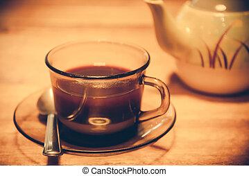 tea or coffee in retro style