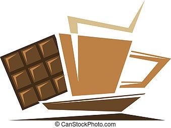 Tea or coffee symbol with chocolate