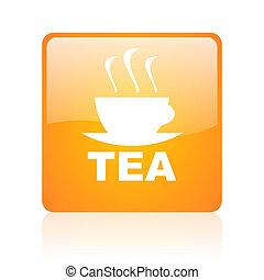 tea orange square glossy web icon