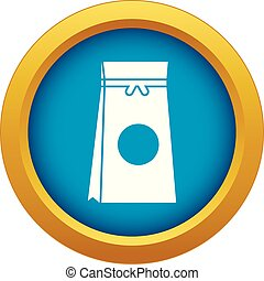 Tea packed in a paper bag icon blue vector isolated