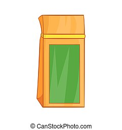 Tea packed in a paper bag icon, cartoon style