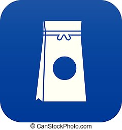 Tea packed in a paper bag icon digital blue