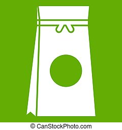 Tea packed in a paper bag icon green