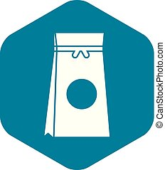 Tea packed in a paper bag icon, simple style