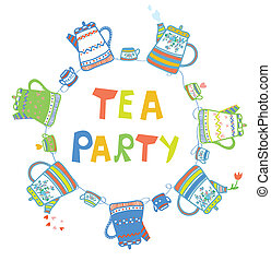 Tea party card with pots and cups cute design
