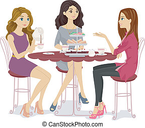 Tea Party Friends - Illustration of a Group of Friends...