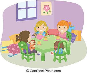Tea Party Girls - Illustration of LIttle Girls Having a Tea ...