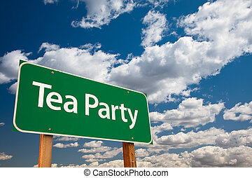 Tea Party Green Road Sign with Copy Room Over The Dramatic...