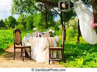 tea party in park, alice in wonderland style